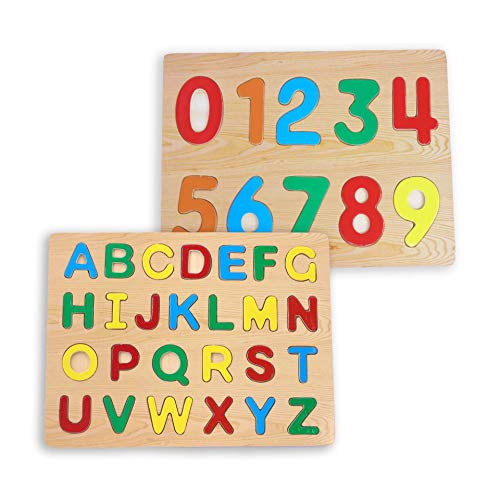 Wooden ABC and Numbers Puzzle for Toddlers 2 Piece Set for Kids Alphabet ABC Numbers Wooden Toy Letters Number Shape Boards Ideal for Early Educational Learning for Kindergarten Toddlers & Preschool