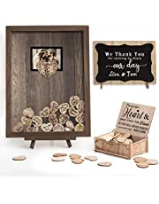 Y&K Homish Wedding Guest Book Personalized Alternative, Drop Top Frame Sign Book with 80pcs Wooden Hearts, Rustic Wedding Decorations and Baby Shower