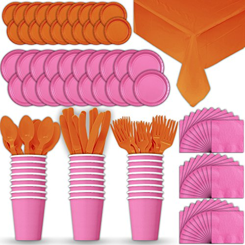 Paper Tableware Set for 24 - Hot Pink & Orange - Dinner and Dessert Plates, Cups, Napkins, Cutlery (Spoons, Forks, Knives), and Tablecloths - Full Two-Tone Party Supplies Pack
