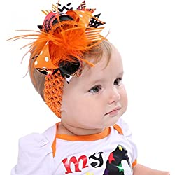 Lifestyler Halloween Toddler Baby Kids Girls Feather Bowknot Hairpin Headdress Orange