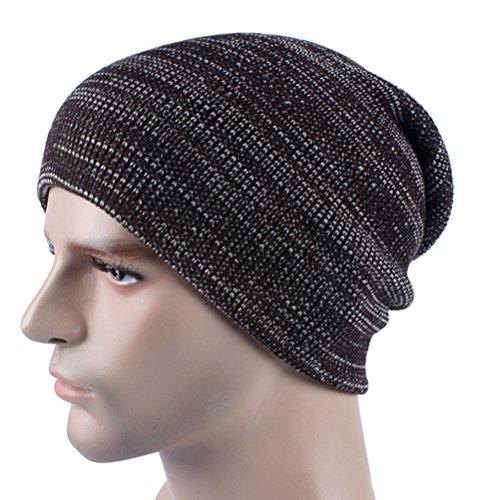Oversized Knit Long Skull Mens Winter de Zhhlinyuan marrón Slouchy punto Cap Hat for Fashion Womens Ski Beanie Gorros Crochet x0w87Yqf7