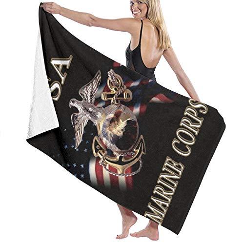 Fancy Illusion Large Microfiber Pool Swim Bath Towels, USMC Marine Corps Big Bath Gym Sheet Surfing Beach Towel for Kids Adults