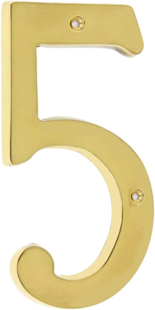 Bebarley 4 Inch Premium Bright Solid Brass Door House Numbers and Street Address Plaques Numbers for Residence and Mailbox Signs.