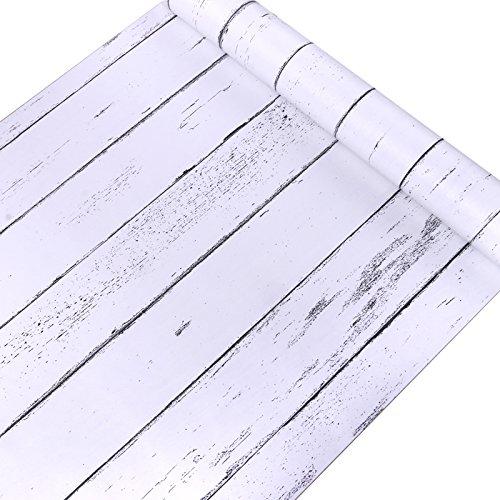 Decorativo blanco grano de madera papel de contacto forro autoadhesivo estante maletero Peel y Stick papel pintado para cubrir armario de cocina encimera estantes manualidades 45 x 200 cm MagicValley GL001
