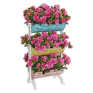 Nearly Natural 8377 Azalea Artificial Farmhouse Stand Silk Plants, Pink 116
