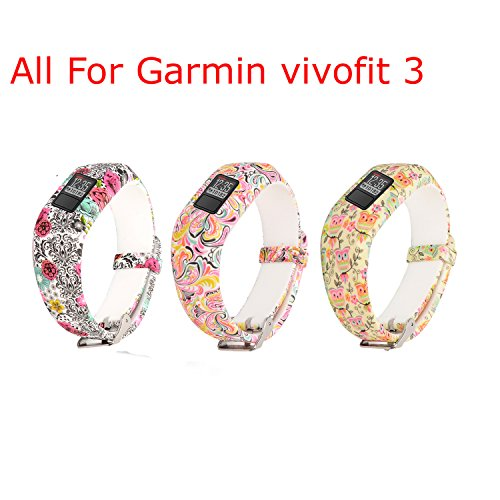 Flower Band Bangle (I-SMILE Replacement Wristband With Secure Clasps Garmin Vivofit 3 Only(No tracker, Replacement Bands Only) (Owls&Cloud&Flower))