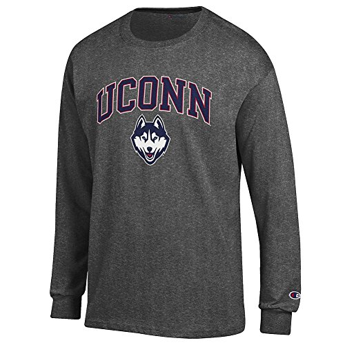 Uconn Huskies T-shirt - Elite Fan Connecticut Huskies Men's Long Sleeve Arch Tee, Dark Heather, XX Large