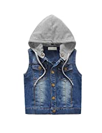 HomeToy Child Cowboy Vest Boy Detachable Hooded Denim Vest