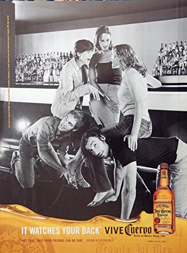 Jose Cuervo Especial Tequila, Print Ad. Full Page Color Illustration (it watches your back) original Magazine - Cuervo Tequila Especial