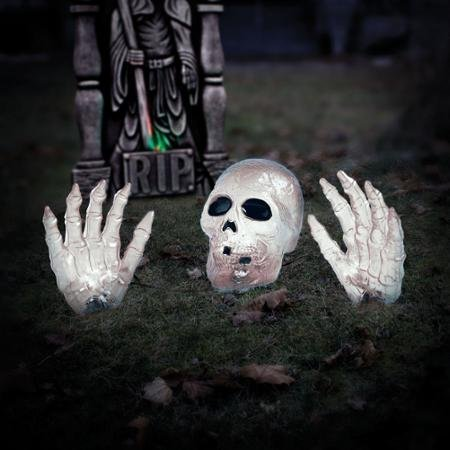 White Lighted Halloween Skull Decoration / 4' Wide Transparent Ground Breaker Skeleton With Hands Haunted Haunts