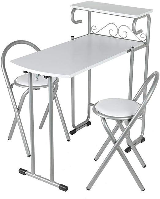 YXZQ Estante, Juego de sillas de Mesa de Comedor, Mesa de Comedor Plegable y Juego de 2 sillas Sillas de Mesa de Desayuno Jardín Hogar Muebles de Cocina Juego con Almacenamiento Blanco: