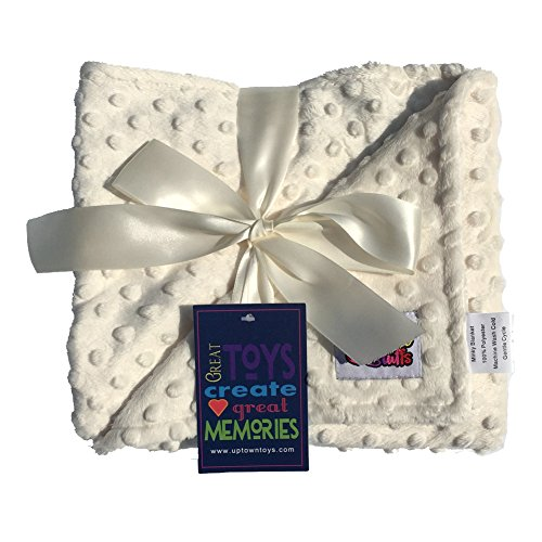Reversible Unisex Children's Soft Baby Blanket Minky Dot (Choose Color) (Cream)