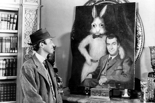 - James Stewart 24X36 Poster With Rabbit From Harvey