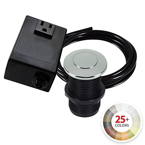 Single Outlet Garbage Disposal Turn On/Off Sink Top Air Switch Kit in Polished Chrome. Compatible with any Garbage Disposal Unit and Available in 25+ Finishes by NORTHSTAR DÉCOR. Model # AS010-PC by NORTHSTAR DECOR