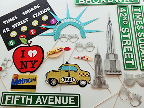 New York Photo Booth Props Glasses Big Apple Times Square Sign by picwrap