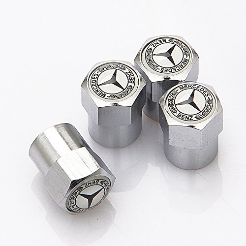 SXhhqhsm Zinc alloy Chrome Mercedes-Benz Logo Tire Stem Valve Caps For Apply to Mercedes-Benz( A Set of 4 plus an extra)