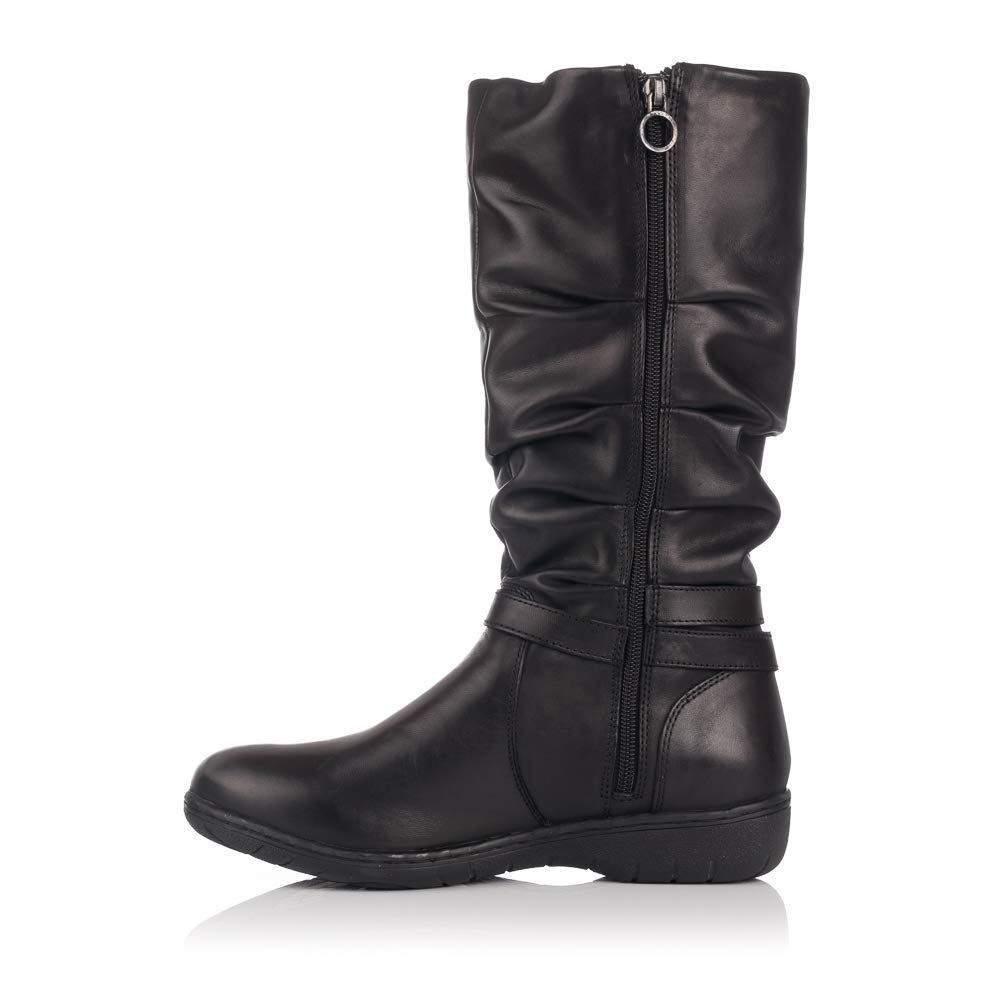 47c63c5169d KANGAROOS 9020-11 Bota Piel Hebilla Mujer Negro 39  Amazon.es  Zapatos y  complementos