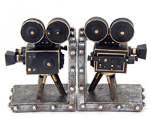 Vintage Style Film Camera Cast Resin Bookend Set of 2 Antique Bronze Bookends