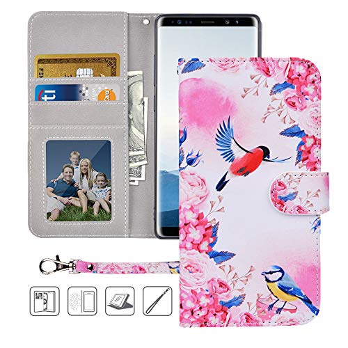 Galaxy Note 8 Wallet Case,Galaxy Note 8 Case, MagicSky Premium PU Leather Flip Folio Case Cover with Wrist Strap, Card Holder, Cash Pocket, Kickstand for Samsung Galaxy Note 8(Birds Love Flowers) ()