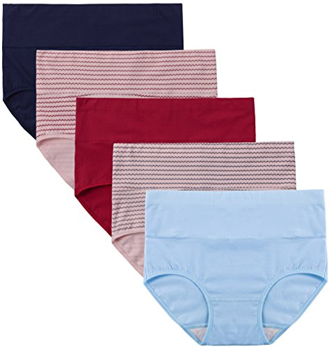 - Innersy Women's 5 Pack Cotton Wavy Solid Color Tummy Control High Waist Underpants Brief Style (S, Printed)