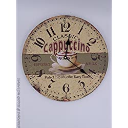 Coffee lovers cappuccino themed wall clock, shabby chic, 13 inch round wall clock