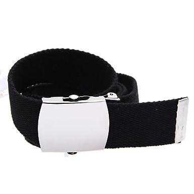 TOOGOO(R) Boucle de ceinture unisexe homme femme toile tissu noir ... e6f6fe408ed