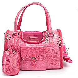 Pet Travel Carrier PVC Bag Pet Puppy Shoulder Handbag for Small Cats Dogs (Rose Red)