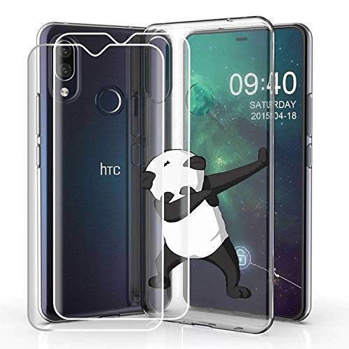Compatible for HTC Desire 19 Plus (2019) Case with 2 Pack Glass Screen Protector Phone Case for Men Women Girls Clear Soft TPU with Protective Bumper Cover Case for HTC Desire 19 Plus (2019) -Panda