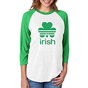 Tstars ST. Patrick's Day Shamrock Clover - Irish 3/4 Women Sleeve Baseball Jersey Shirt Medium Green/White