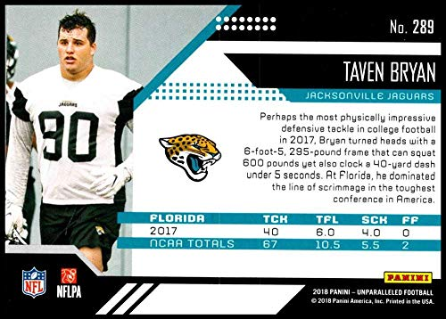 Amazon.com  2018 Unparalleled NFL  289 Taven Bryan RC Rookie Jacksonville  Jaguars Rookie Panini Football Trading Card  Collectibles   Fine Art 4087e89d3
