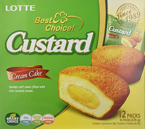 - 9.73oz Lotte Custard Cream Cakes Original (One Box)