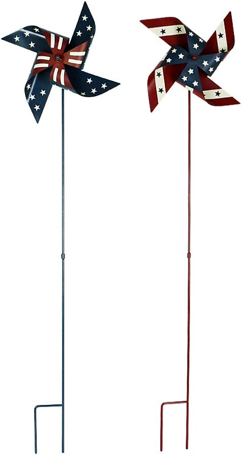 Morning View Americana Metal Pinwheel Set of 2, American Patriotic Metal Wind Spinner for 4th of July Decoration, Outdoor Indoor, Stars and Stripes, Red White and Blue 36