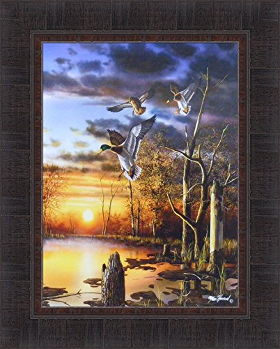 Evening Splendor by Jim Hansel 17x21 Mallards Ducks Sunset Water Pond Framed Art Print -