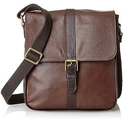 Fossil Men's Estate Leather North-South City Bag, Dark Brown