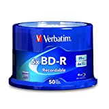 Verbatim BD-R 25GB 6X Blu-ray Recordable Media Disc - 50 Pack Spindle