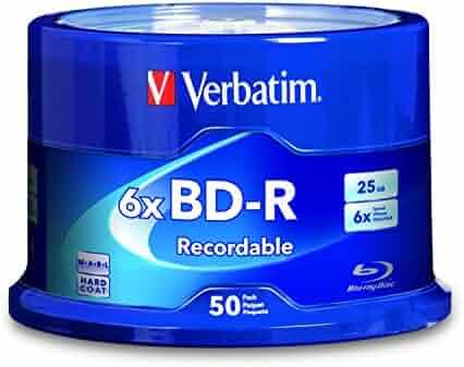 Verbatim BD-R 25GB 6X Blu-ray Recordable Media Disc - 50 Pack Spindle - 98397