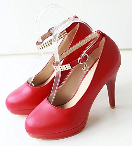 Rouge Femme Talons Aiguilles Hauts Bijoux Aisun Sexy Avec Boucle Escarpins HTwqRx1F4