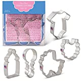 Baby Shower Cookie Cutters - 5 Piece Set Boxed - Bottle, Bib, Carriage, Onesie, Rattle - Ann Clark - US Tin Plated Steel