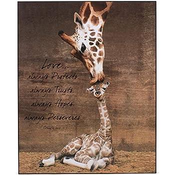 Amazon Com P Graham Dunn Mother Giraffe Kissing Baby