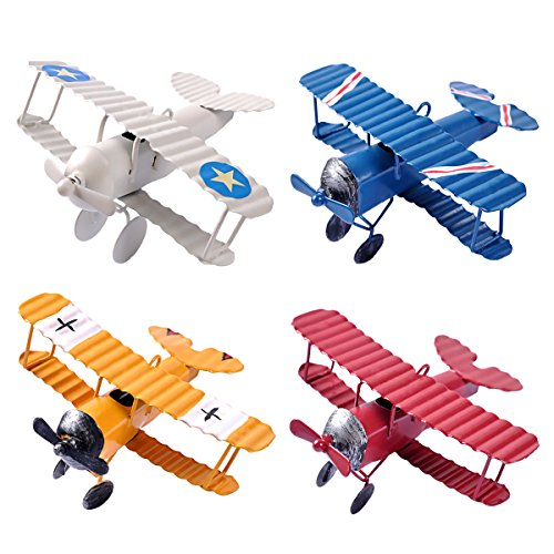 eZAKKA Airplane Decor Vintage Mini Metal Decorative Airplane Model Hanging Wrought Iron Aircraft Biplane Pendant Toys for Photo Props, Christmas Tree Ornament, Desktop Decoration, 4 Color-Pack