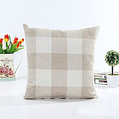 Beige White Checkers Plaids Linen Square Throw Pillow Case Decorative Cushion Cover Pillowcase Cushion Case for Sofa 18 x 18 Inch