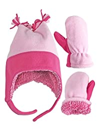 b9f30e49601 ... Accessories   Cold Weather   Cold Weather Sets. N Ice Caps Little Girls  and Baby 4 Corner Sherpa Lined Fleece Snow Hat Mitten