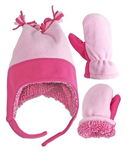 rls and Baby 4 Corner Sherpa Lined Fleece Snow Hat Mitten Set (Fuchsia/Pink 1, 4-7 Years) ()