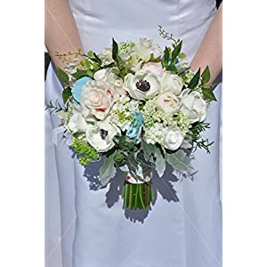 Pink & White Real Touch Anemone Rose & Ranunculus Bridal Bouquet 58