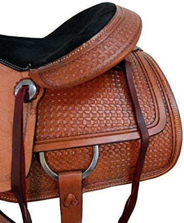 51ru8ejE9RL. AC  - Comfy Trail Saddle Pleasure Horse TACK Hand Tooled Leather Roping Roper 15 16 17