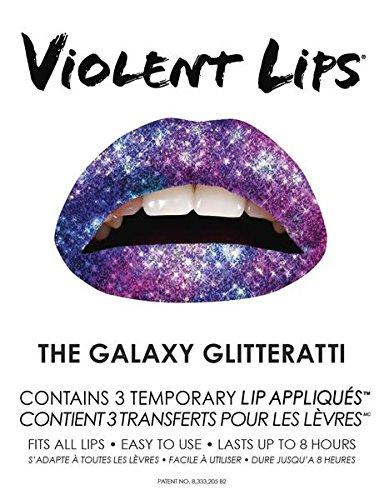 Violent Lips - Galaxy Gliteratti - Set of 3 Temporary Lip Appliques by Violent Lips