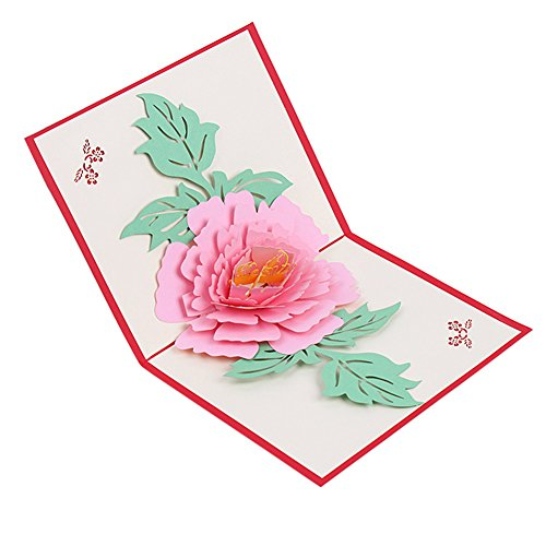 Bluelans 3D Pop UP Greeting Cards Fantastic Peony Flower Handmade Gift Card For Birthday Valentine's Day Anniversary Invitation Wedding Graduation Card (Pink Peony) (Flat Peony Card)