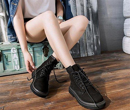 Cuir Cheville BLACK Réal Femmes Britanique De Appartement Printemps Martin Bottes EUR36UK354 air Loisir Plein Style Chaussures aux Noir NVXIE L'automne XPwUv