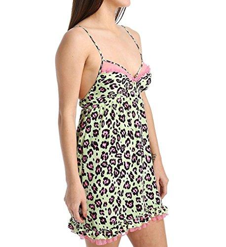 [Betsey Johnson Women's Romantic Washed Satin Slip, Disco Leopard Paradise Green, Medium] (Betsey Johnson Chemise)