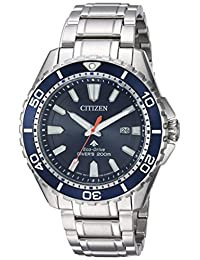 Citizen Men's 'Eco-Drive' Quartz Stainless Steel Diving Watch, Color:Silver-Toned (Model: BN0191-55L)